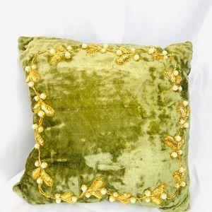 Vintage Small Green Velvet Pillow